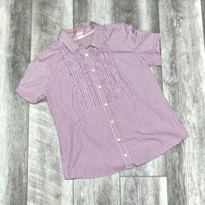 J.Crew Checkered Smocked Front Button Down Blouse